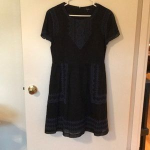 Black and blue Madewell pocket dress